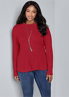 plus size ribbed peplum sweater