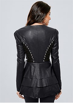 lace up faux leather jacket