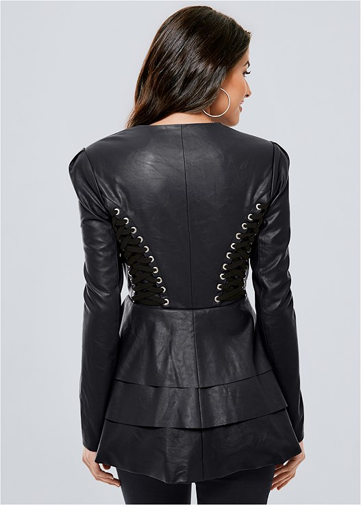 LACE UP FAUX LEATHER JACKET,SLIMMING STRETCH JEGGINGS,SLOUCHY LAYERED STRAP BOOTS