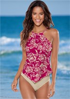 high neck halter tankini