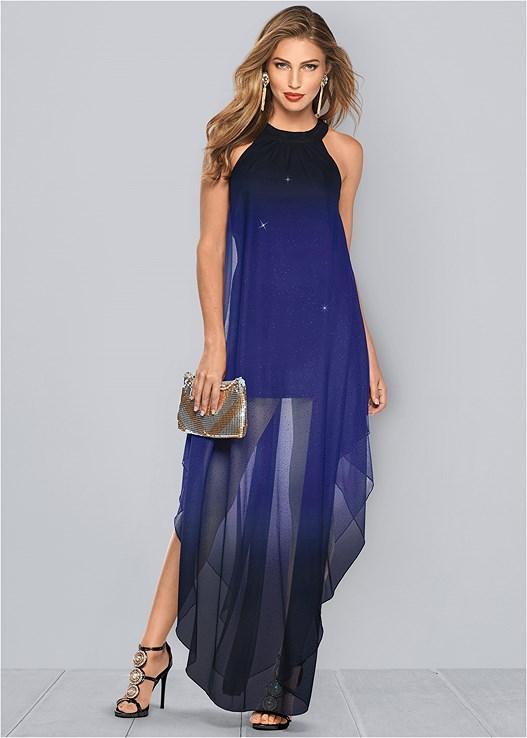 ombre glitter long dress venus