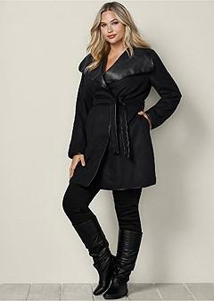 plus size faux leather wrap coat