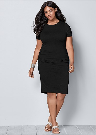 Plus Size Basic High Neck Dress