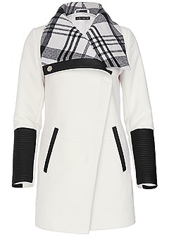 plus size plaid detail coat