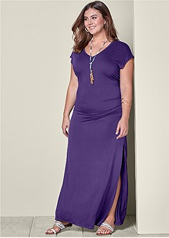 plus size v-neck maxi dress with slit