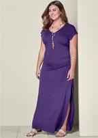 plus size v-neck maxi dress