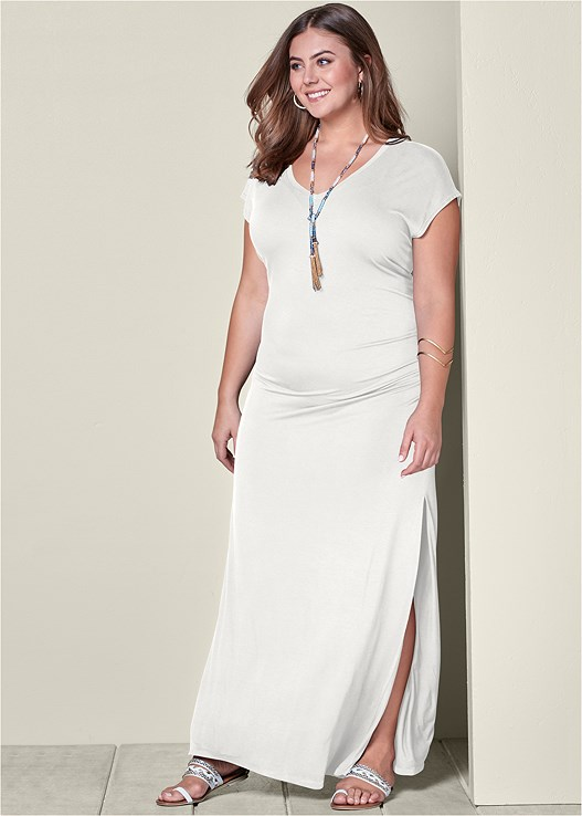 e62027c67480 White V-NECK MAXI DRESS WITH SLIT from VENUS