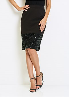 sequin trim skirt