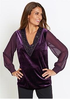 embellished velvet top
