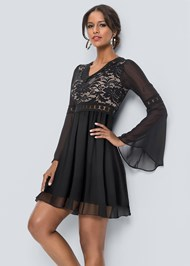 Cropped Front View Chiffon Party Dress