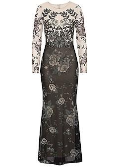 plus size floral long dress