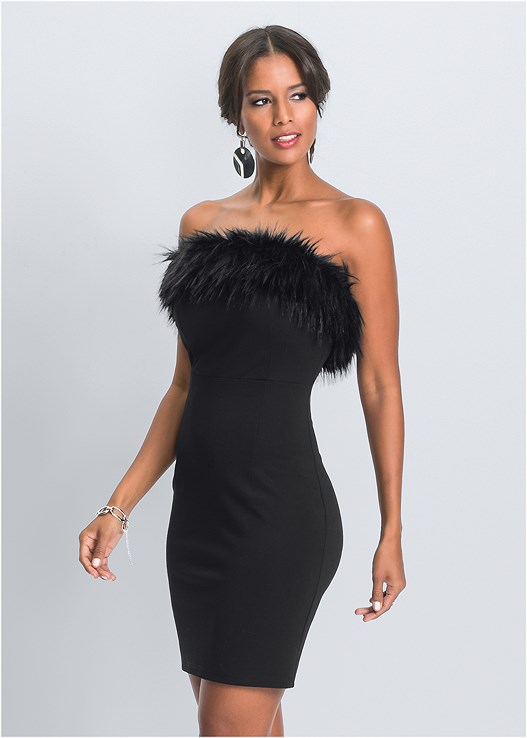 FAUX FUR TRIM DRESS,LONGLINE CONVERTIBLE BRA,EMBELLISHED STRAPPY HEEL