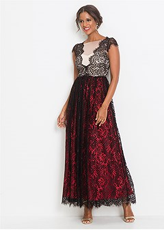 lace detail long dress