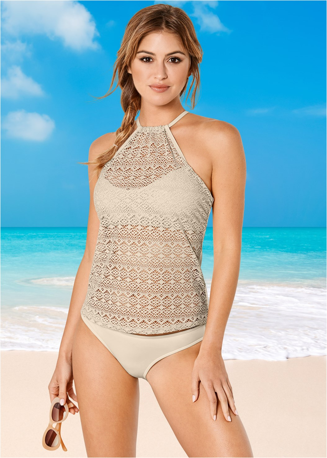 Low Rise Classic Bikini Bottom ,Shapely Ruched Bandeau Top,Crochet High Neck Halter Top
