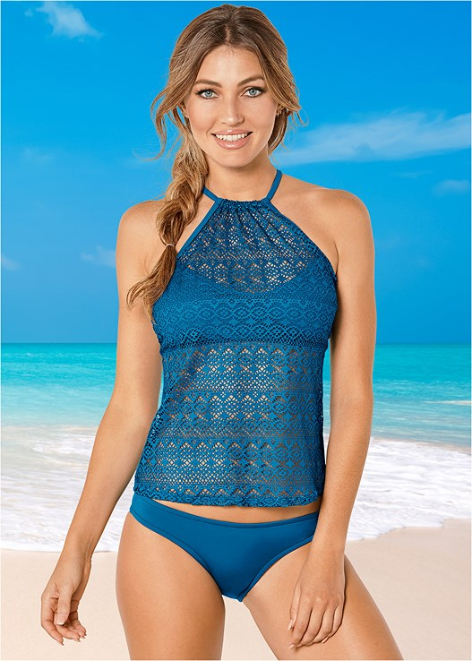 CROCHET HALTER TANKINI,LOW RISE BIKINI BOTTOM