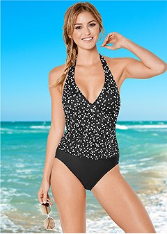 wrap front halter one-piece