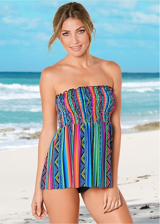 SMOCKED TANKINI TOP,HIGH WAIST MODERATE BOTTOM,HIGH WAIST FULL CUT BOTTOM,RUCHED WAIST BIKINI BOTTOM
