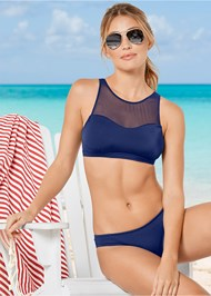 Alternate View Mesh High Neck Bikini Top