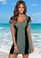 color block v neck cover up
