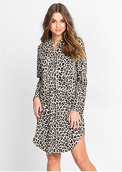 leopard button up dress