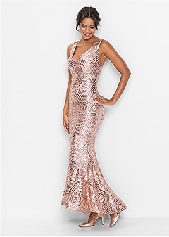 sequin long dress