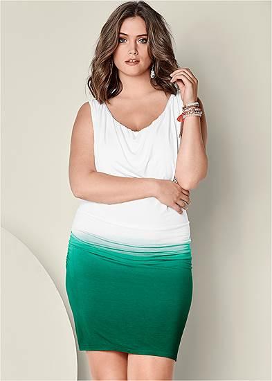Plus Size Drape Front Ombre Dress