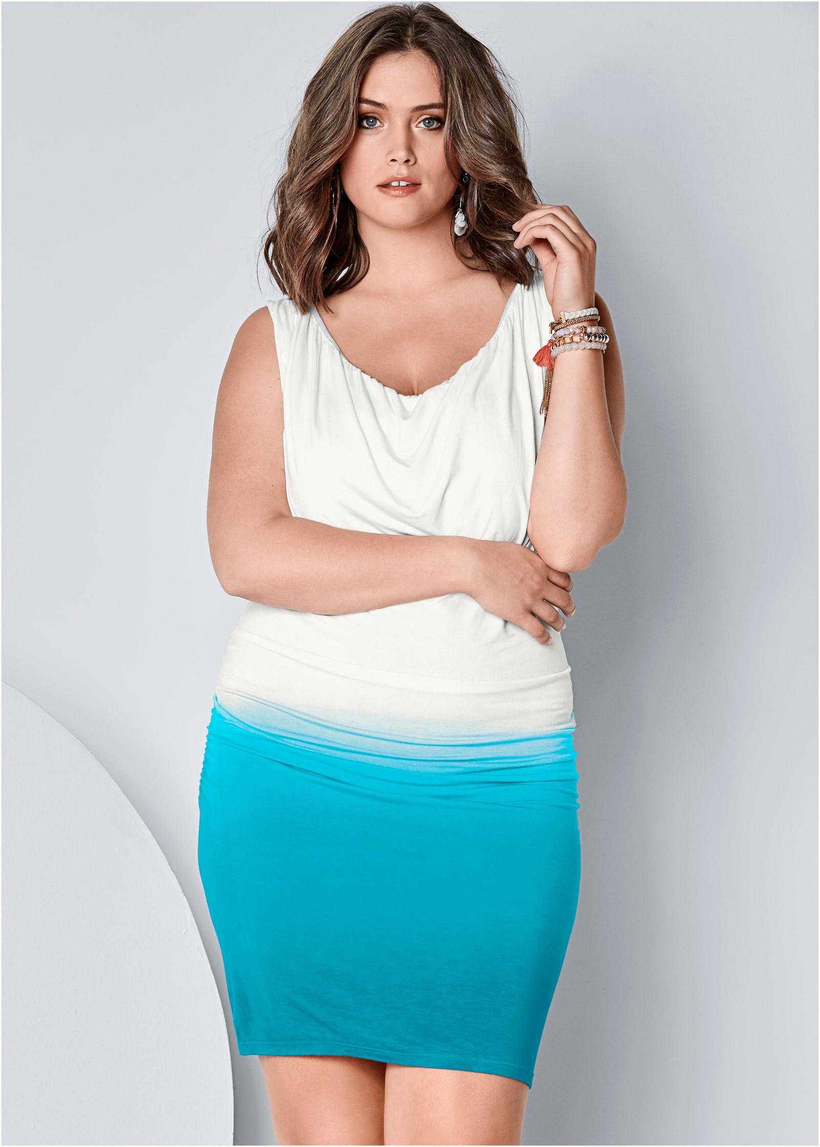 Plus Size Drape Front Ombre Dress Venus