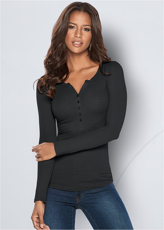 RIBBED HENLEY TOP,COLOR SKINNY JEANS,SIDE SMOOTHING BRA