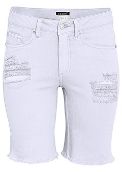plus size distressed long shorts