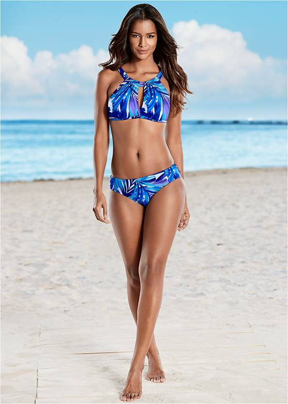 Keyhole High Neck Top,Ruched Low Rise Bottoms,Ruched High Waisted Bottoms,Scoop Front Classic Bikini Bottom