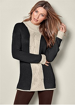 cable knit detail sweater