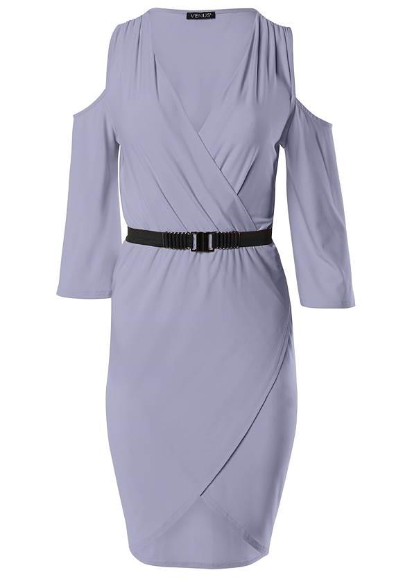 Back View Cold Shoulder Belted Dress
