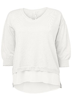 plus size lace up back sweater