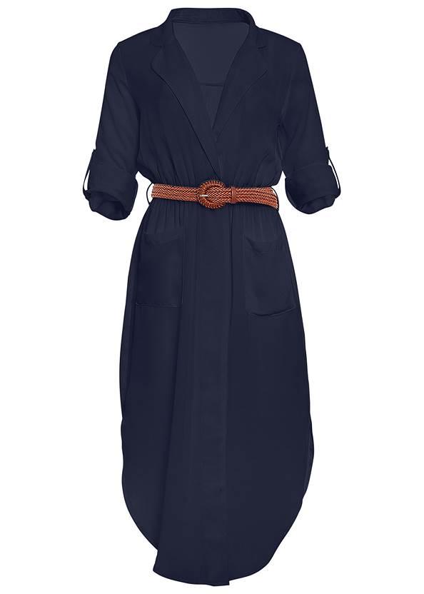 Back view Belted Midi Shirt Dress