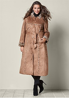plus size faux suede coat