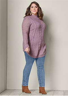 plus size open knit turtleneck