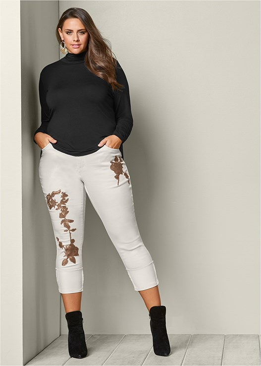 FLORAL SEQUIN CUFFED JEANS,FAUX SUEDE POINTY BOOTIES