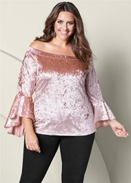 Plus Size Velvet Trumpet Sleeve Top