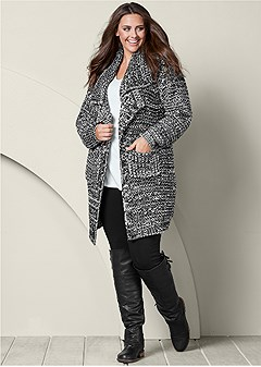 plus size chunky pocket cardigan