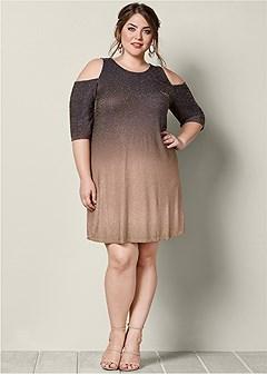 plus size cold shoulder glitter dress