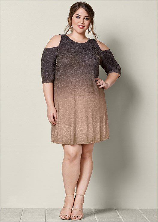 Charcoal Grey Multi COLD SHOULDER GLITTER DRESS from VENUS
