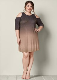 Plus Size Cold Shoulder Glitter Dress