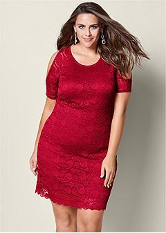 plus size cold shoulder lace dress