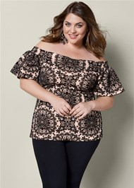 FRONT VIEW Flocked Ruffle Sleeve Top