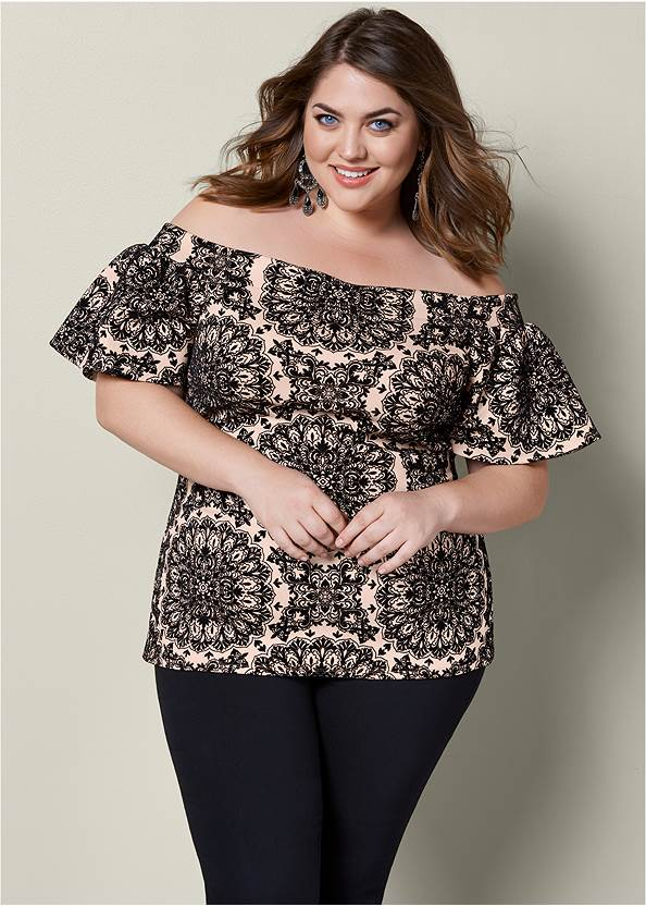Flocked Ruffle Sleeve Top,Mid Rise Slimming Stretch Jeggings