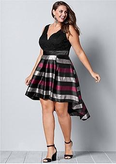 plus size lace stripe cocktail dress