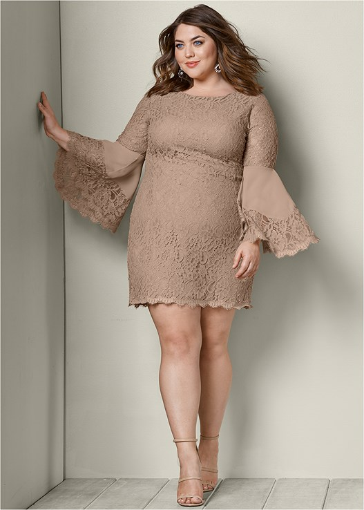 Plus Size Sleeve Detail Lace Dress Venus