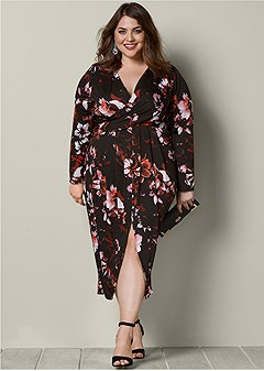 plus size floral dress with slit