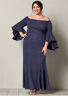 plus size off the shoulder long dress