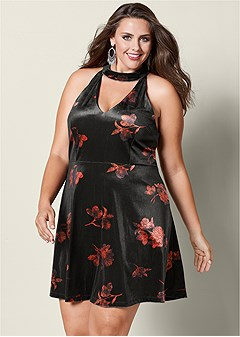 plus size velvet floral print dress